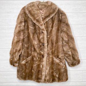 Vintage Jackets & Coats - Vintage Mincara Faux Fur Button Front Coat